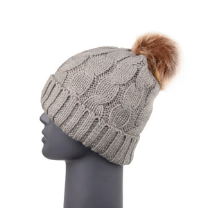 Beanie with Detachable Bobble Grey