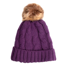 Load image into Gallery viewer, Beanie with Detachable Bobble Purple