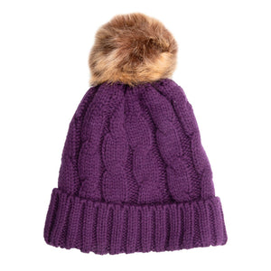 Beanie with Detachable Bobble Purple