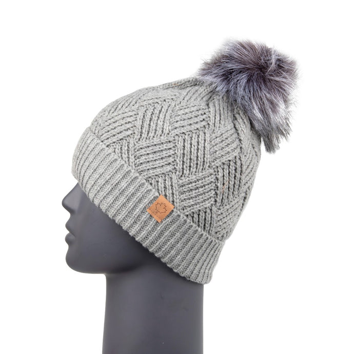 Diamond Knit Beanie with Detachable Bobble Grey