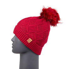 Load image into Gallery viewer, Diamond Knit Beanie with Detachable Bobble Red