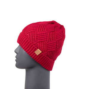 Diamond Knit Beanie with Detachable Bobble Red