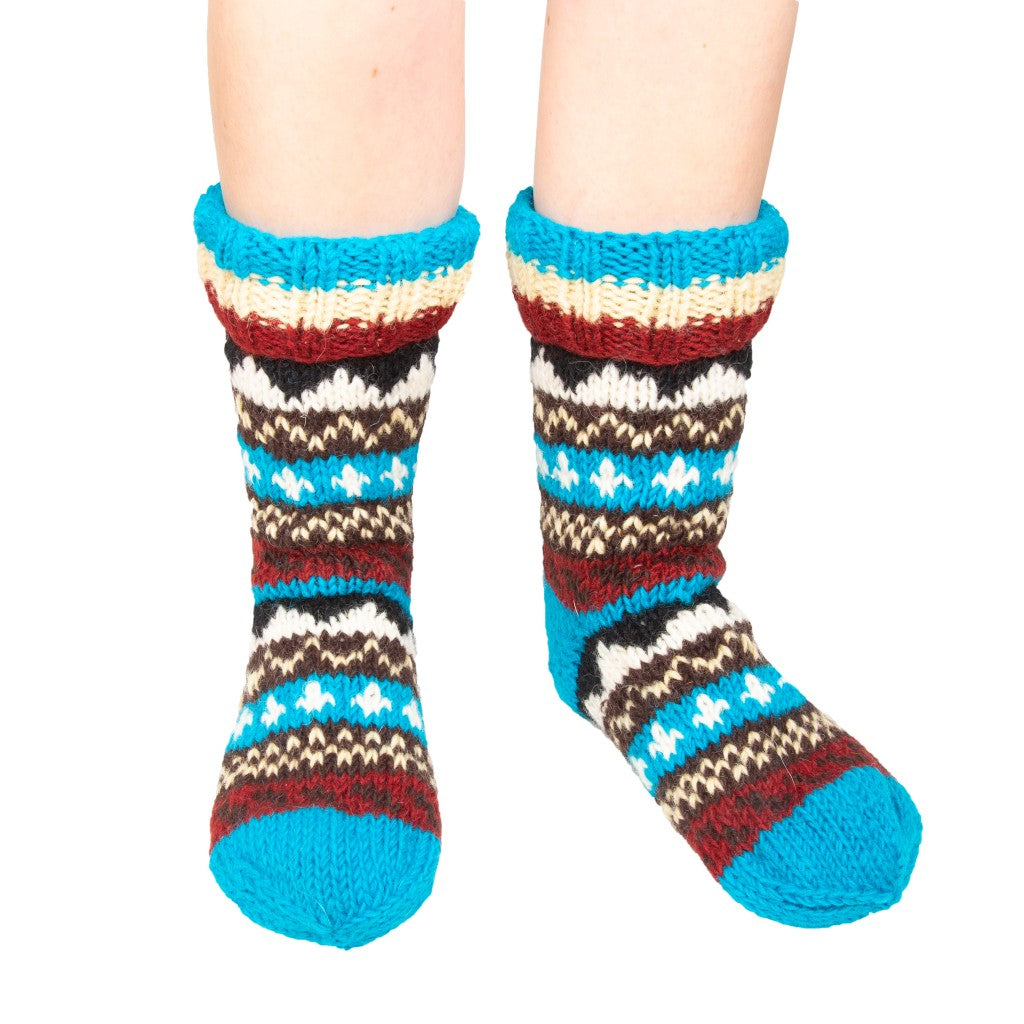 Himalayan Knitted Long Socks Ice Blue