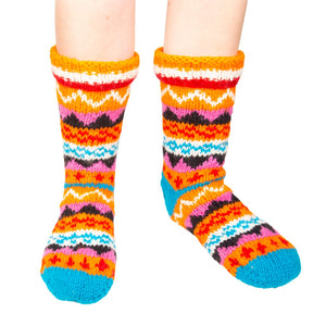 Himalayan Knitted Long Socks Orange
