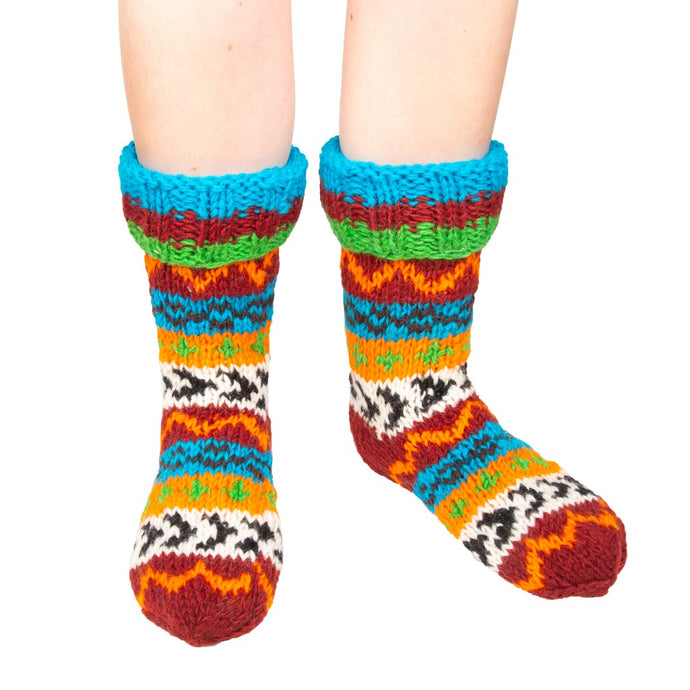 Himalayan Knitted Long Socks Brown