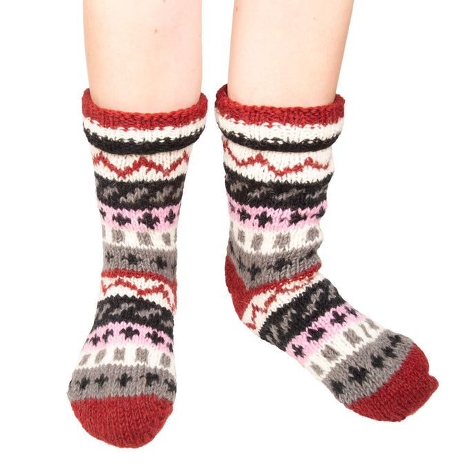Himalayan Knitted Long Socks Grey