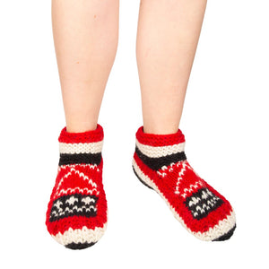 Himalayan Knitted Short Socks Red