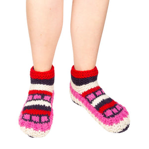 Himalayan Knitted Short Socks Pink