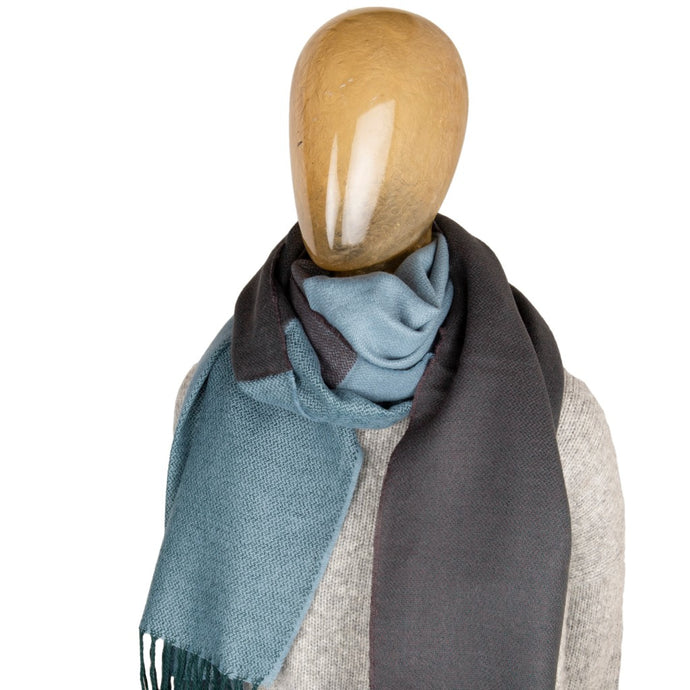 Blanket Scarf Two Tone Contrast Blue