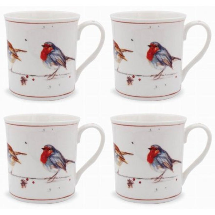 WINTER ROBINS MUG SET OF 4