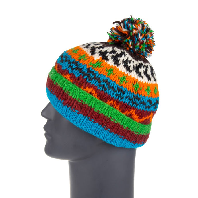 Himalayan Knitted Bobble Hat Blue