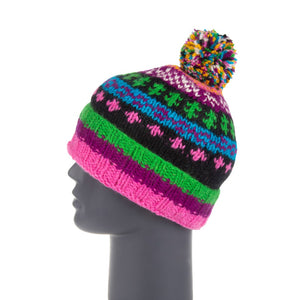 Himalayan Knitted Bobble Hat Purple