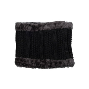 Neck Warmer Chunky Ribbed Knit Black