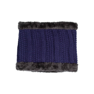 Neck Warmer Chunky Ribbed Knit Blue
