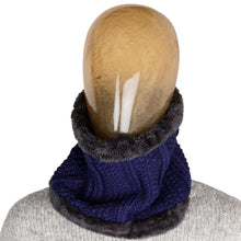 Load image into Gallery viewer, Neck Warmer Chunky Ribbed Knit Blue