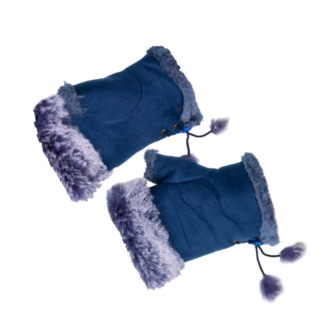 Women's Fingerless Gloves Fur Trim Plain Blue