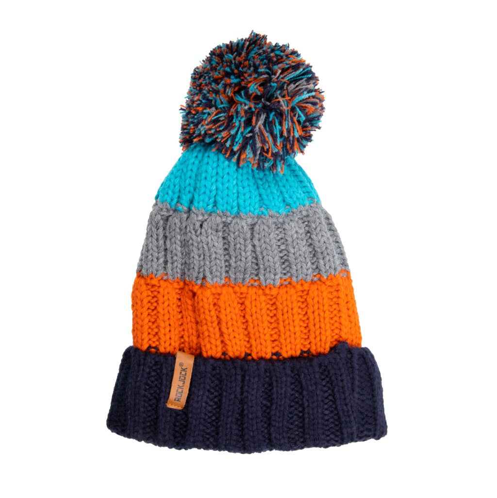 Kids Bobble Hat Chunky Grey Stripe