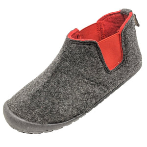 Gumbies Brumby Slipper Boot Charcoal & Red
