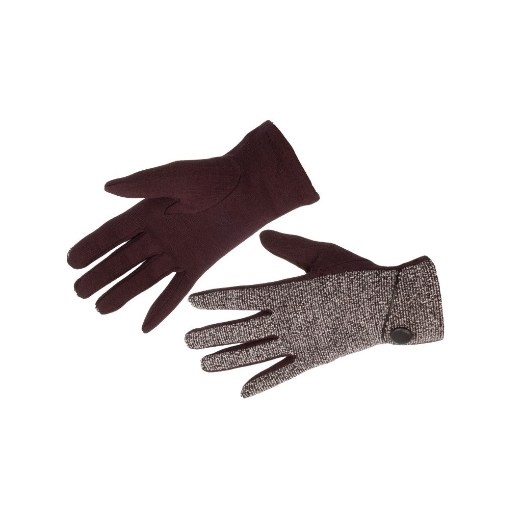 Women's Gloves Fleck Fabric with Button Burgundy
