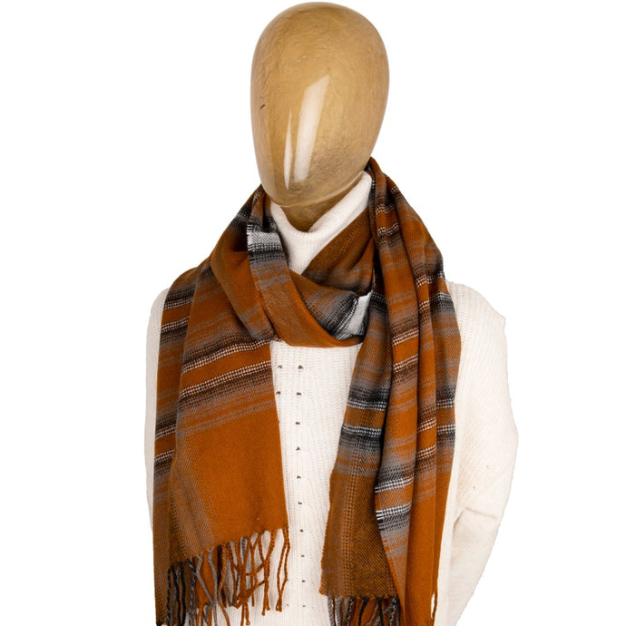 Blanket Scarf Stripe Burnt Orange