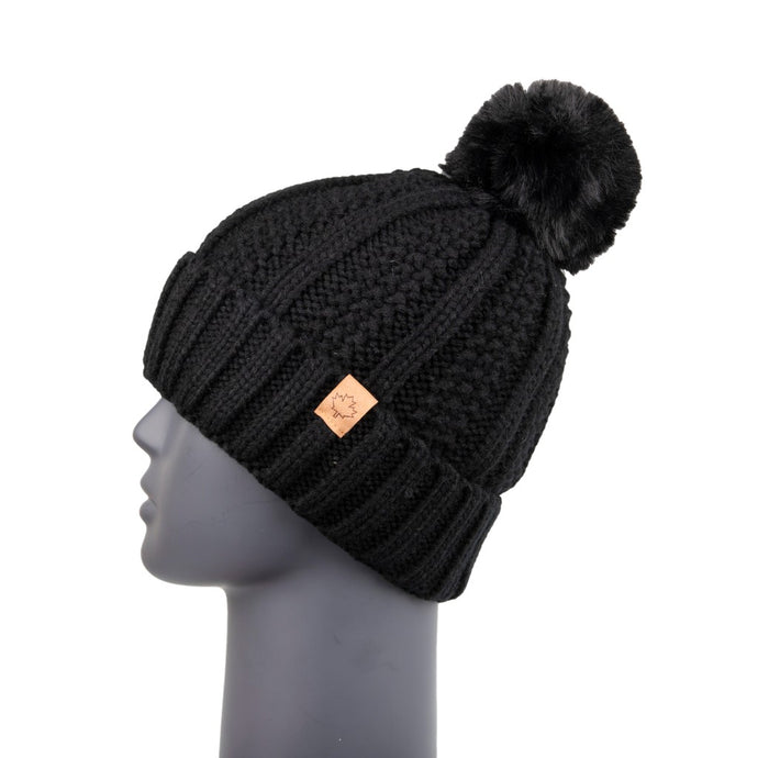 Ribbed Knit Beanie with Detachable Bobble Black