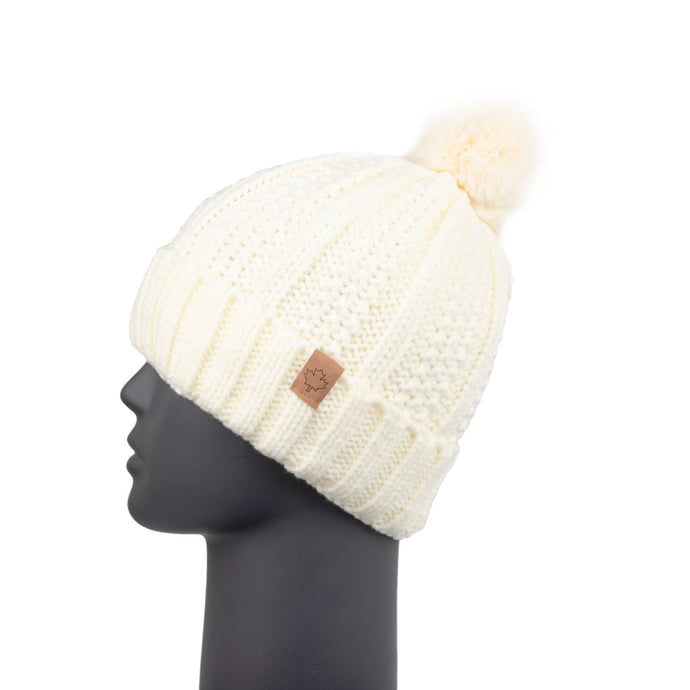 Ribbed Knit Beanie with Detachable Bobble Cream