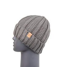 Load image into Gallery viewer, Ribbed Knit Beanie with Detachable Bobble Grey