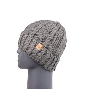Ribbed Knit Beanie with Detachable Bobble Grey