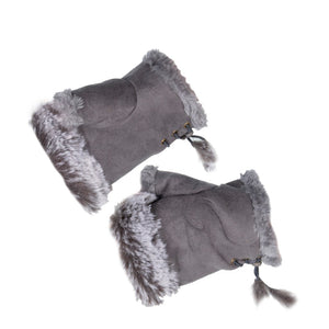 Women's Fingerless Gloves Fur Trim Plain Grey