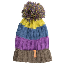 Load image into Gallery viewer, Bobble Hat Chunky Stripe Purple/Blue/Grey