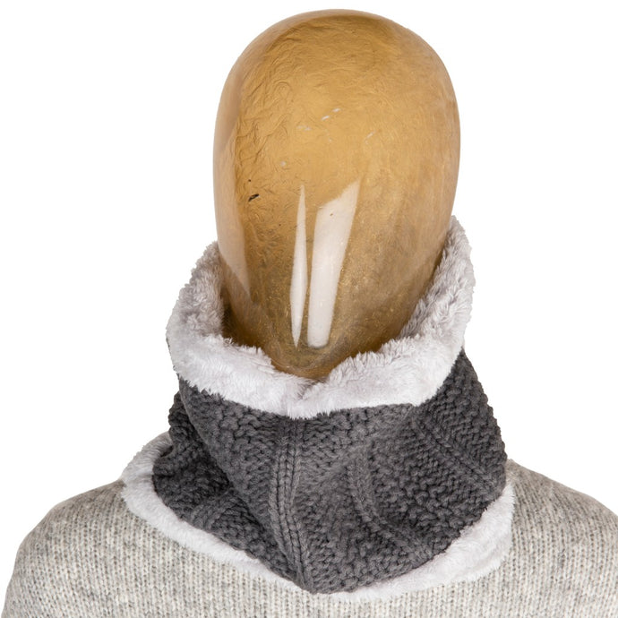 Neck Warmer Chunky Ribbed Knit Grey