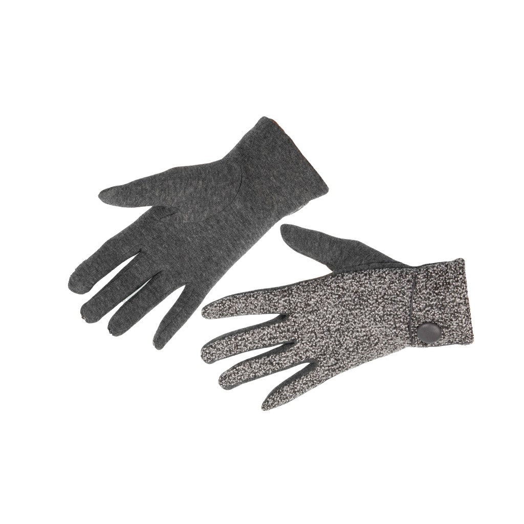 Women's Gloves Fleck Fabric with Button Grey