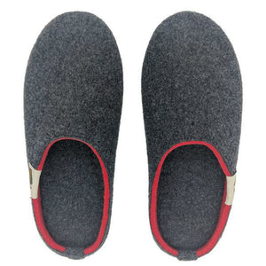 Gumbies Outback Slippers Charcoal and Red
