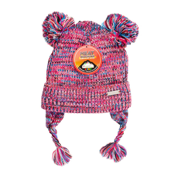 Kids Beanie Double Bobble Pink