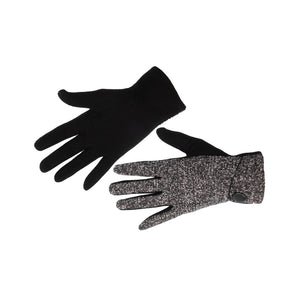 Women's Gloves Fleck Fabric with Button Black