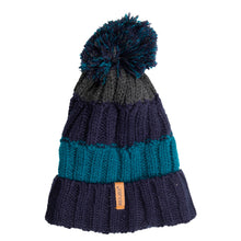 Load image into Gallery viewer, Bobble Hat Chunky Stripe Navy