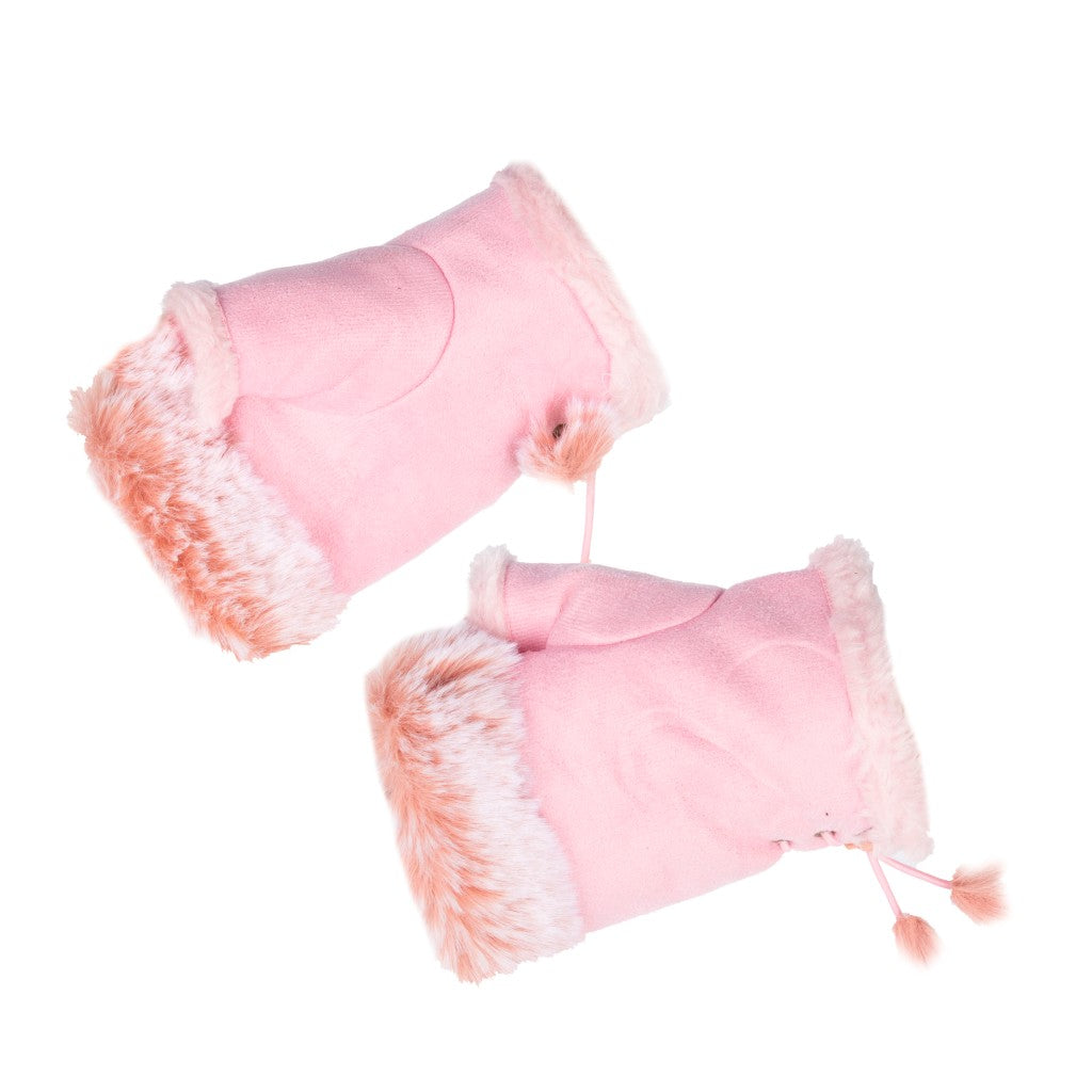 Women's Fingerless Gloves Fur Trim Plain Pink