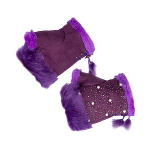 Women's Fingerless Gloves Fur Trim Silver Sequins Purple