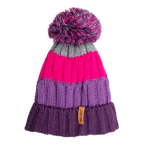 Bobble Hat Chunky Stripe Purple/Pink