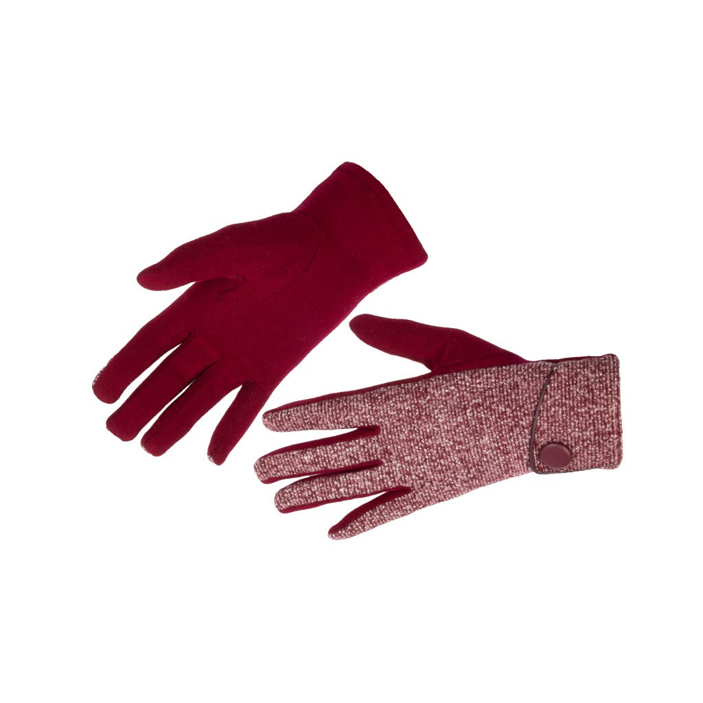 Women's Gloves Fleck Fabric with Button Red