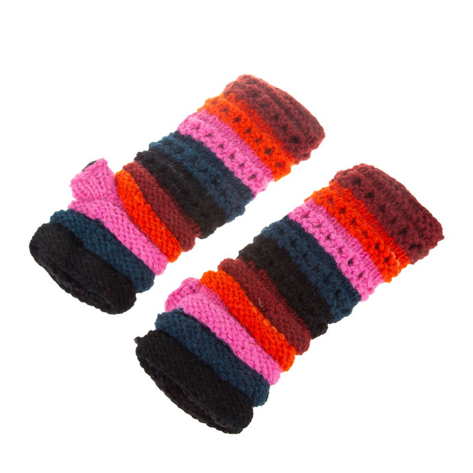Himalayan Ribbed Knit Handwarmer Red