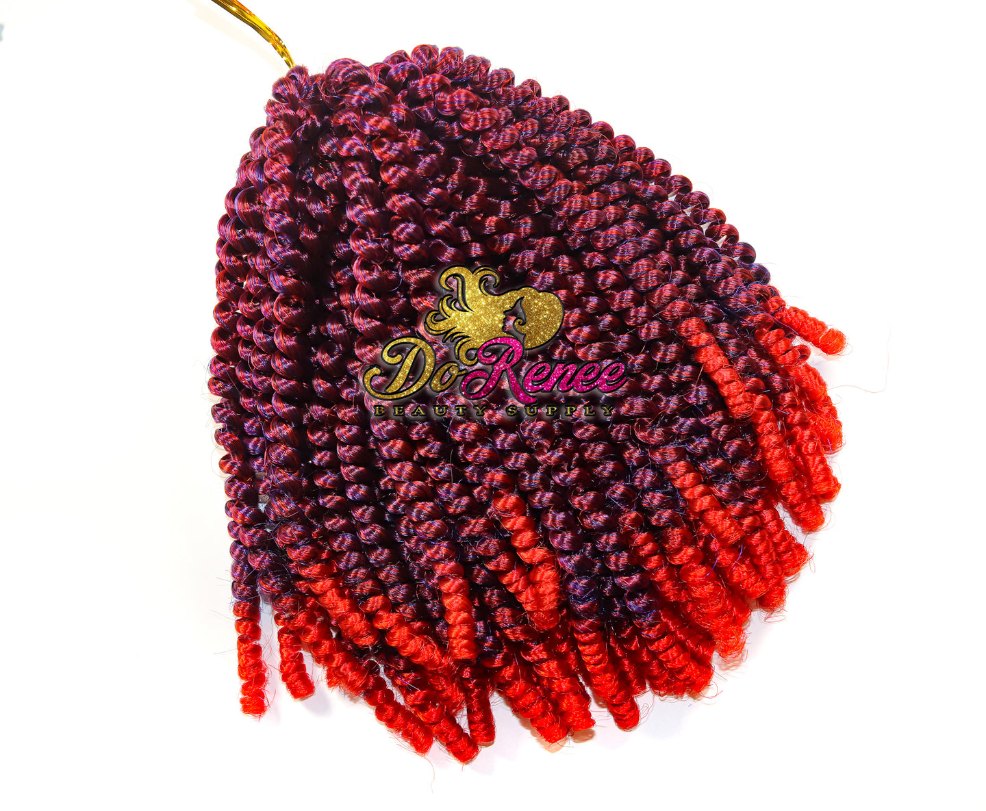 Spring Twist Hair 8inch Color Raspy Red (TPurpleRed) (UNTWISTED)