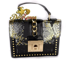 Load image into Gallery viewer, Snaked Crossbody Handbag - Black Shimmer