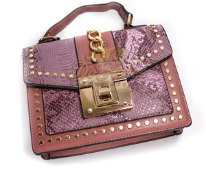 Snaked Crossbody Handbag - Plum