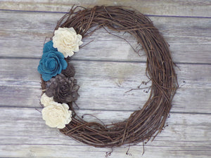 Twig Wreath with Blue, Brown, and White Flowers