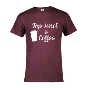 Short Sleeve T-Shirt - Top Knot and Coffee