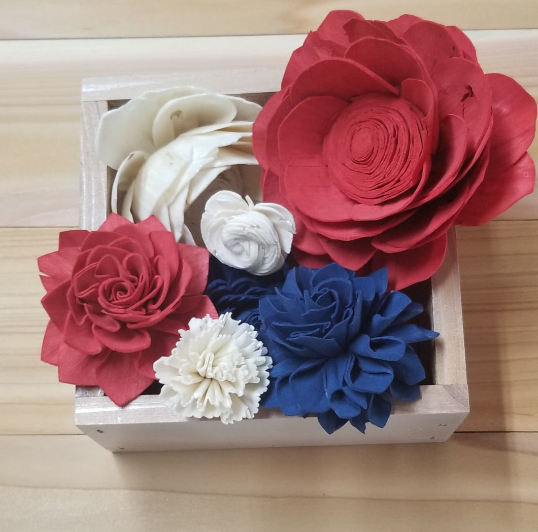Red, White and Blue colored assortment -  6 inch Center Piece Box- Craft Kit