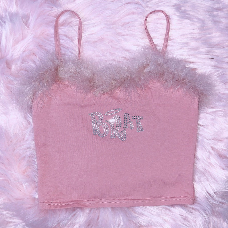 Ice Bling Brat Feather Cami Top