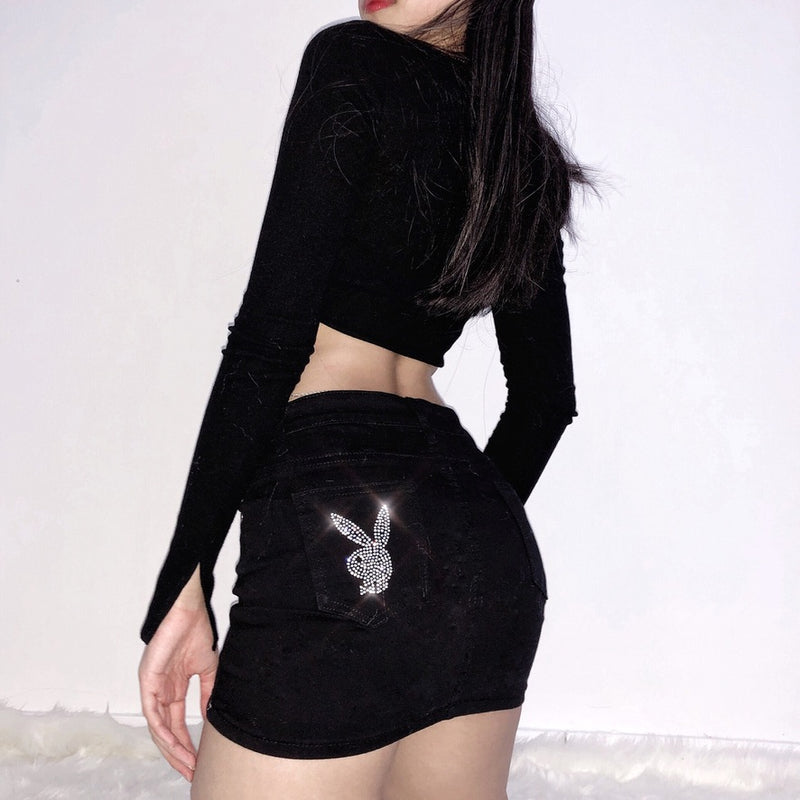 Mansion Bunny Low Rise Mini Skirt (Black)