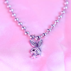Rhinestone Bunny Ball Chain Choker/ Necklace